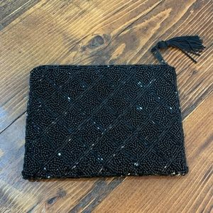Black vintage beaded pouch